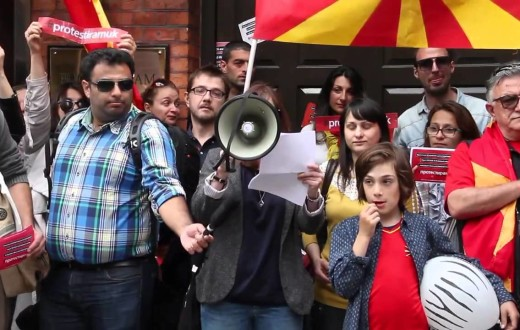 A group of protesters in front of the Macedonian Embassy in London.