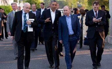 Barack Obama and Vladimir Putin Walking Together in Ireland