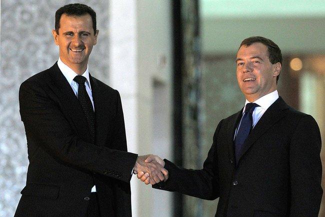 Former Russian President Dmitry Medvedev with Current Syrian Present Bashar Assad