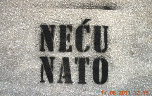 "A spray painted wall in Serbia reads: ""I don't want NATO"""