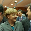 Chancellor Merkel, President Hollande andd Prime Minister Tsipras meet in Brussels. From European Council President licensed under Creative Commons 2.0 Generic.