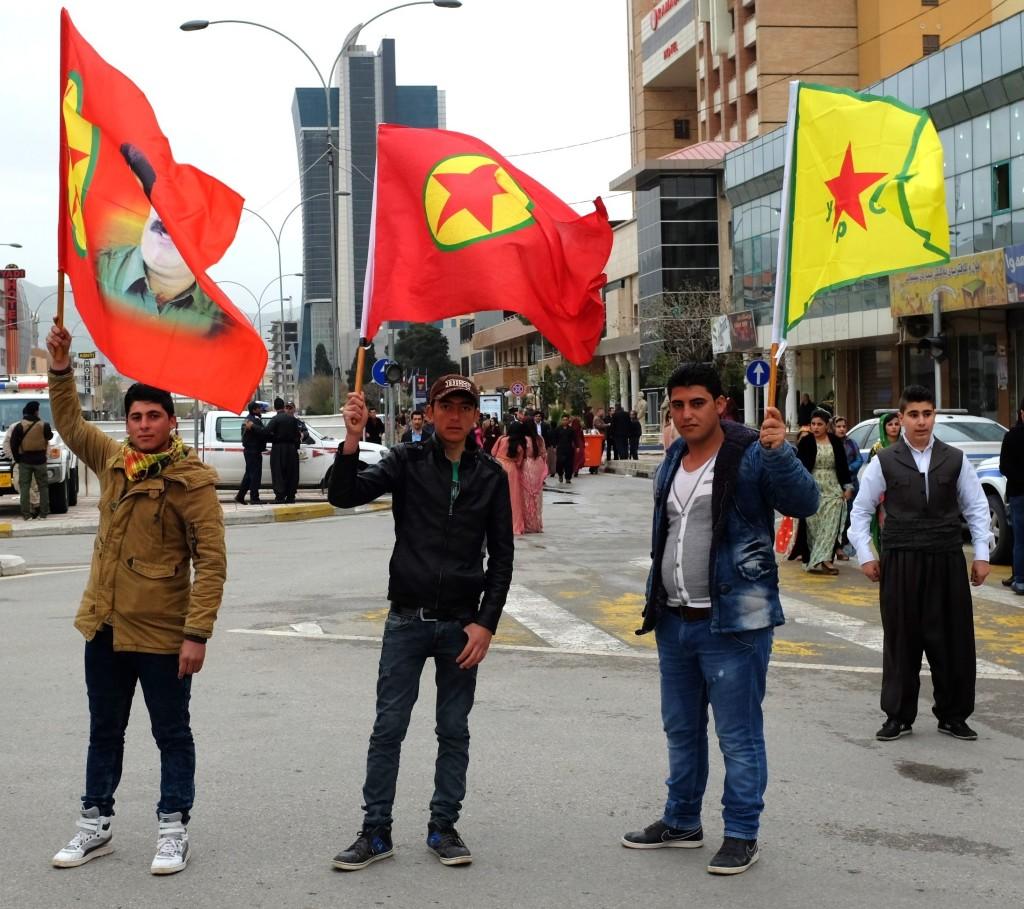 Flags of the YPG, PKK, and the imprisoned Kurdish PKK leader Abdullah Ocalan