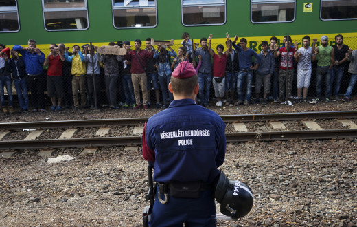 Syrian refugees strike at the platform of Budapest Keleti railway station