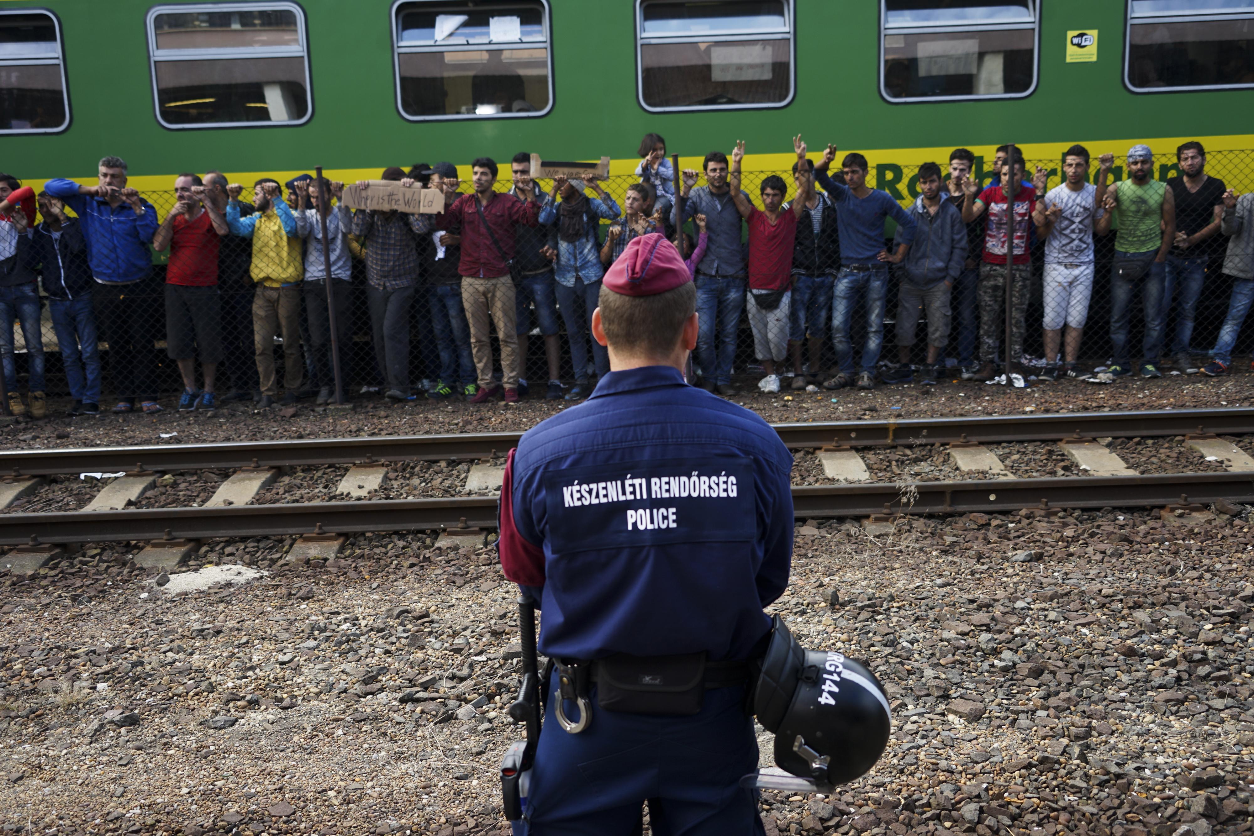 Syrian refugees strike at the platform of Budapest Keleti railway station