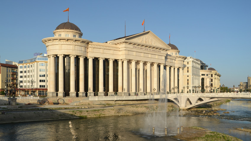 The Archaeological Museum of Macedonia, one of several pompous structures recently built by the government.
