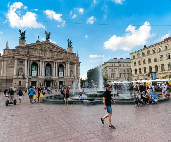 Ukraine Old Town Theater Downtown Lvov City Lviv