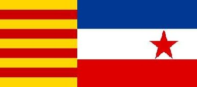 The Catalan and the Yugoslav flag