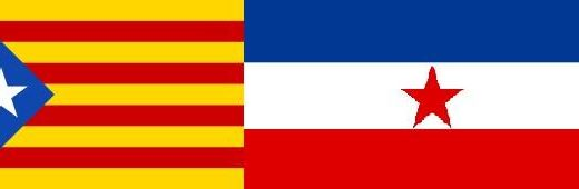 The flags of Catalonia and Yugoslavia